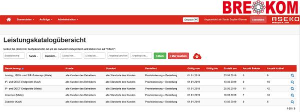 Leistungskatalogübersicht Self Service Portal BREKOM
